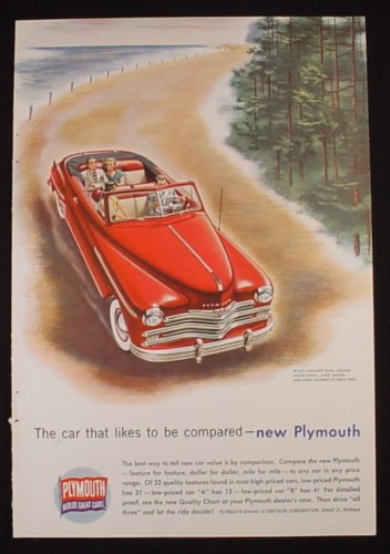 Magazine Ad for Plymouth Red Convertible, 1949