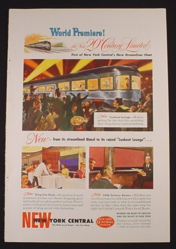 Magazine Ad for New York Central Railroad, First Dreamliner Fleet, 1948