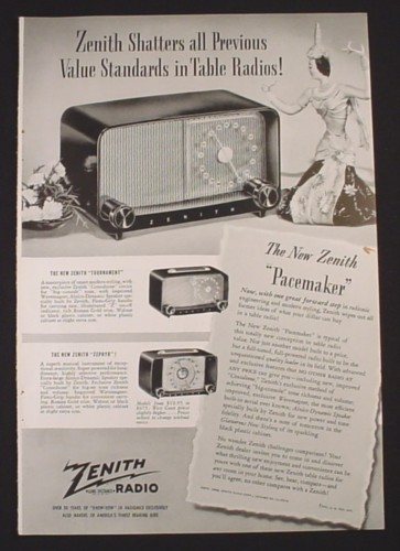 Magazine Ad for Zenith Table Radios, Pacemaker, Tournament, Zephyr, 1948