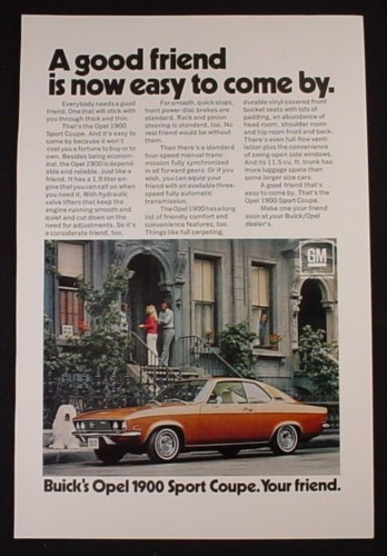Magazine Ad for Buick Opel 1900 Sport Coupe Car, A Good Friend, 1971