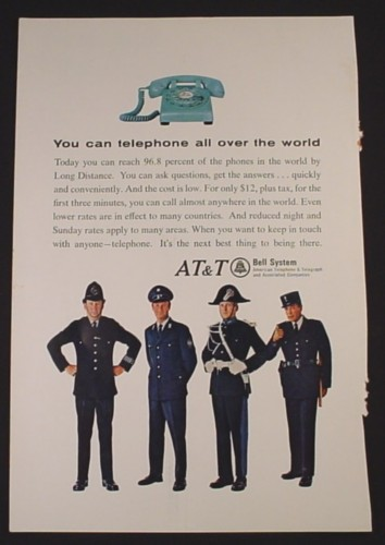 Magazine Ad for AT & T Bell Systems, Turquoise Telephone, Policemen, 1966