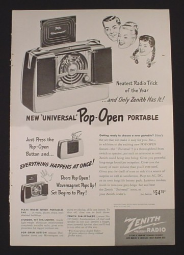 Magazine Ad for Zenith Universal Pop-Open Portable Radio, Neatest, 1948