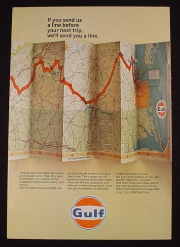 Magazine Ad for Gulf Oil, Fold Out Road Map, Roadmap, 1966