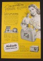Magazine Ad for Motorola Portable Radio, Sporter, Playmate Jr, 58L11, 1948