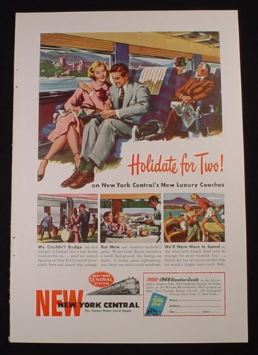 Magazine Ad for New York Central Railroad, Holidate For Two, 1948