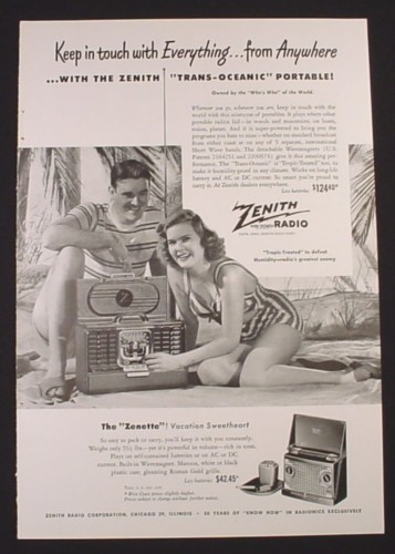 Magazine Ad for Zenith Trans-Oceanic Portable, Vacation Sweetheart, 1948