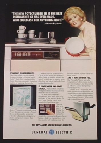 Magazine Ad for GE General Electric Appliances, Debbie Reynolds Celebrity Endorsement