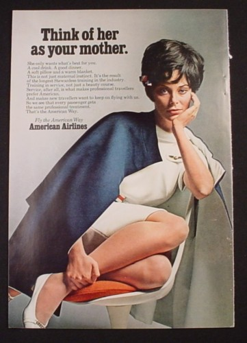 Magazine Ad for American Airlines, Beautiful Stewardess, Think Of Her As Your Mother