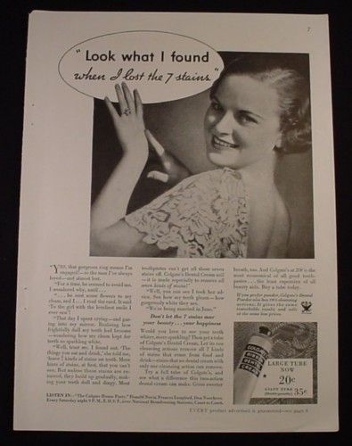 Magazine Ad for Colgate Ribbon Dental Cream, Lost 7 Stains gained Wedding Ring, 1934