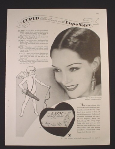Magazine Ad for Lux Toilet Soap, Cupid, Lupe Velez Celebrity Endorsement, 1934