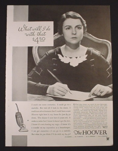 Magazine Ad for Hoover Vacuum Cleaner, $4.50, 1934