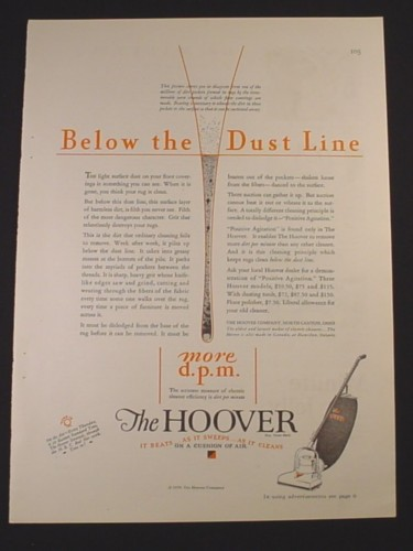 Magazine Ad for Hoover Vacuum Cleaner, Below The Dust Line, 1929