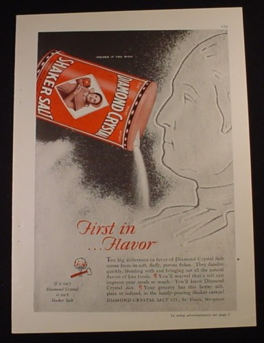 Magazine Ad for Diamond Crystal Shaker Salt, George Washington, 1929