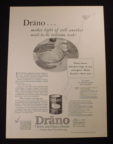 Magazine Ad for Drano, Clean Rings From Your Oven Baking Bowl, 1929