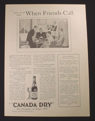 Magazine Ad for Canada Dry Ginger Ale, When Friends Call, 1929