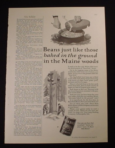 Magazine Ad for Bean Hole Beans, Maine Woods, 1929, 2/3 page Ad