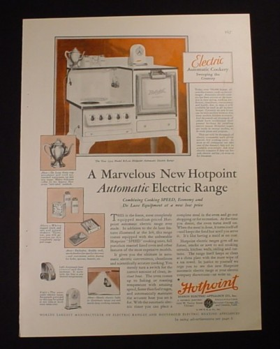 Magazine Ad for General Electric Hotpoint Automatic Electric Range Stove, 1929