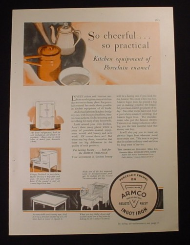 Magazine Ad for Armco Porcelain Enamel Kitchen Equipment, 1929