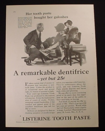 Magazine Ad for Listerine Tooth Paste, Her Tooth Paste Bought Her Galoshes, 1929