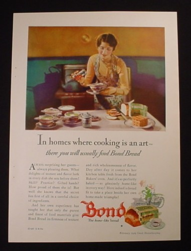 Magazine Ad for Bond Bread, In Homes Where Cooking Is An Art, 1929