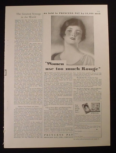Magazine Ad for Princess Pat Face Powder, Women Use Too Much Rouge, 1929