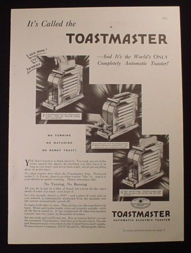 Magazine Ad for Toastmaster Automatic Electric Toaster, No Turning, 1929