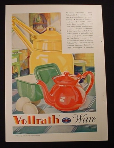 Magazine Ad for Vollrath Ware, Steel Enameled Kitchen Utensils, 1929