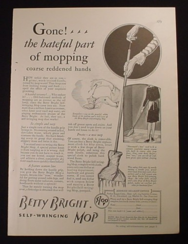 Magazine Ad for Betty Bright Self-Wringing Mop, Turn Handle Grip, 1929