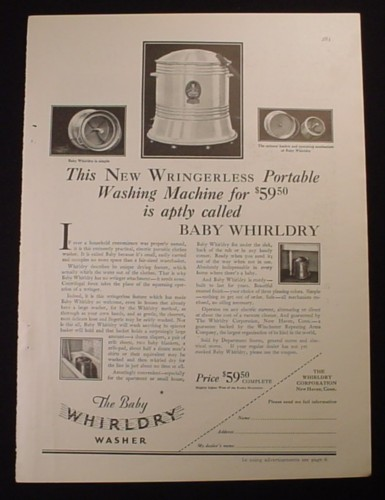 Magazine Ad for The Baby Whirldry Washer, Portable Washing Machine, 1929