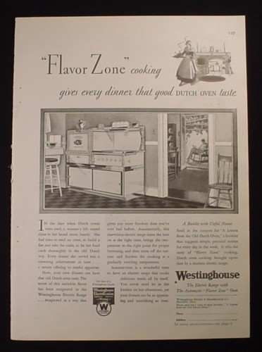 Magazine Ad for Westinghouse Electric Range with Flavor Zone Oven, 1929
