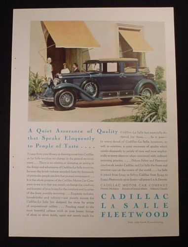 Magazine Ad for Cadillac La Salle Fleetwood Car, Assurance of Quality, 1929