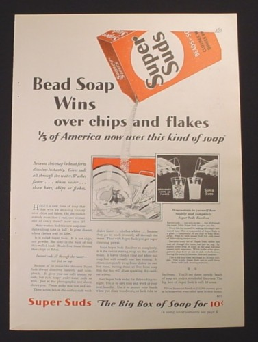 Magazine Ad for Super Suds Dish Soap, Bead Soap Wins Over Chips, 1929