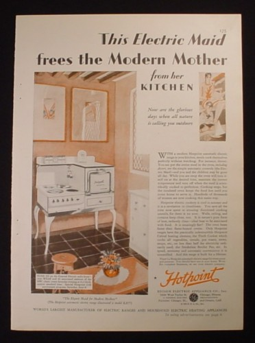 Magazine Ad for Hotpoint Automatic Electric Range Model RA77, 1929