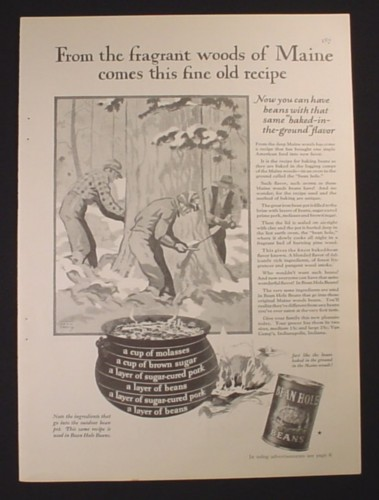 Magazine Ad for Bean Hole Beans, From Fragrant Woods Of Maine, 1929