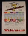 Magazine Ad for Waterman's No. 7 Fountain Pen, Color Band Around The Cap, 1929