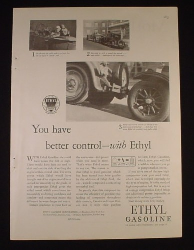 Magazine Ad for Ethyl Gasoline, You Have Better Control With Ethyl, 1929