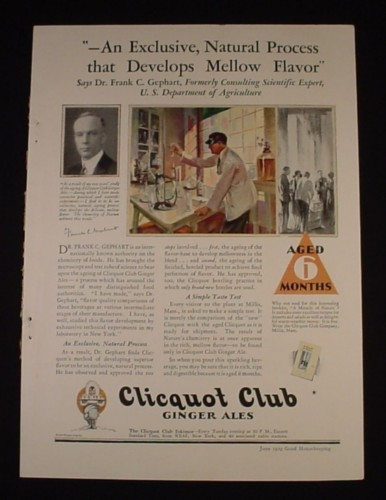Magazine Ad for Cliquot Club Ginger Ale, Aged 6 Months, 1929