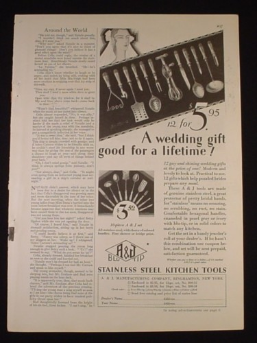 Magazine Ad for A&J Blutip Kitchen Tools Utensils, Wedding Gift, 1929, 2/3 Page Ad