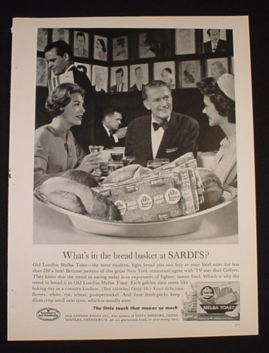 Magazine Ad for Melba Toast, In the Bread Basket at Sardi's Restaurant, 1961