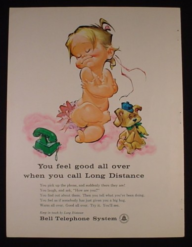 Magazine Ad for Bell Telephone System, Cartoon Baby Girl Hugging Herself, 1961
