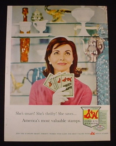 Magazine Ad for S&H Green Stamps, She's Smart She's Thrifty, 1961