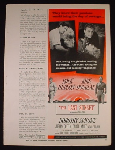 Magazine Ad for The Last Sunset Movie, Rock Hudson, Kirk Douglas, 1961, 2/3 Page Ad