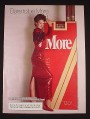 Magazine Ad for More Cigarettes, Woman in Red Dress, Dare to Be More, 1985