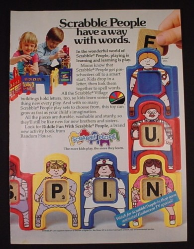 Magazine Ad for Scrabble People Toys, Selchow & Righler, 1985