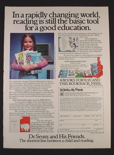 Magazine Ad for Dr. Seuss Books, Offer with Book Rack, 1985