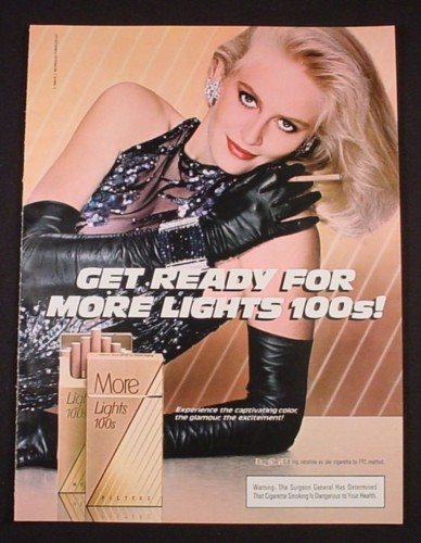 Magazine Ad for More 100's Cigarettes, Woman with Black Dress & Gloves, 1985