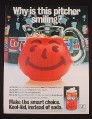 Magazine Ad for Smiling Kool-Aid Pitcher, Soft Drink Bottles Behind It, 1982