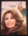 Magazine Ad for Sophia by Coty Perfume Fragrance, Sophia Loren Celebrity Endorsement