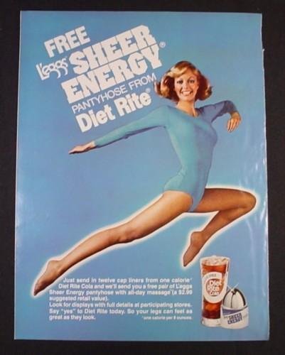 Magazine Ad for Legg's Sheer Energy Pantyhose & Diet Rice Cola Promotion, 1977