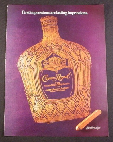 Magazine Ad for Crown Royal, Brass Rubbing, 1987, 8 1/3 by 10 3/4, Brass Rubbing Desmond Montague